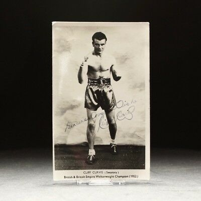 1952 Cliff Curvis Welsh Boxer Autographed Signed Picture Postcard & Cigar Box