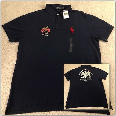 NEW POLO RALPH LAUREN POLO SHIRT Sz S XXL Men's Custom Slim Fit Rugby Navy