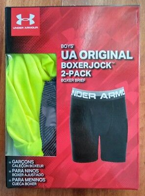 New Boys Youth Under Armour Boxer Jock Briefs 2 Pack YSM Small Graphite neon