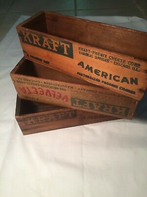 3 Vintage Kraft Cheese Boxes - American And Velveeta. Very Nice Patina On All
