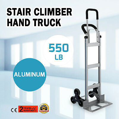 Aluminum Hand Trolley Stair Climbing Truck Push Moving rubber tires Moving
