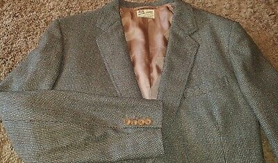 Vtg. HENRY POOLE  Savile Row ~40 R Windowpane Sport Coat 2 Button Wool ENGLAND