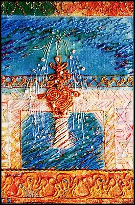 Card Indian Fountain - Hand Stitchery And Metal Thread Embroidery On Dyed Ground