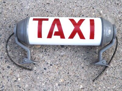 Taxi Light Automobile  Advertising Sign Scarce  Original Old Stock Glass