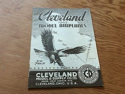 Rare 1943 Cleveland Model & Supply Co. model airplane catalog 40, WWII themed