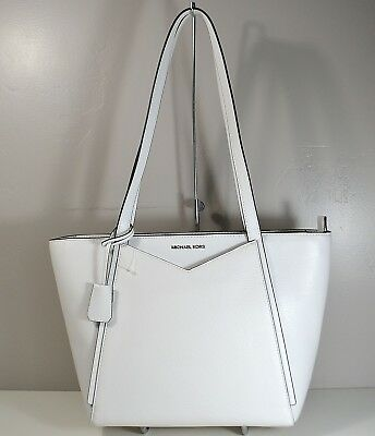 d0fb240ab7113c Nwt Michael Kors Whitney Optic White Leather Small Tz Tote Purse 30S8Gn1T1L