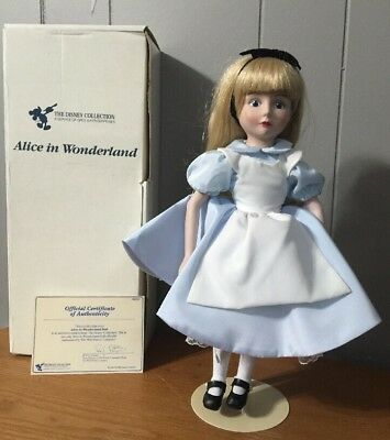Vintage 1988 Disney Collection Alice In Wonderland Porcelain Doll In Box W/ COA