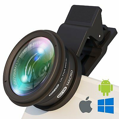 Phone Camera Lens Kit: Ultra Wide Angle W/ Macro And UV Filter For Photo Video