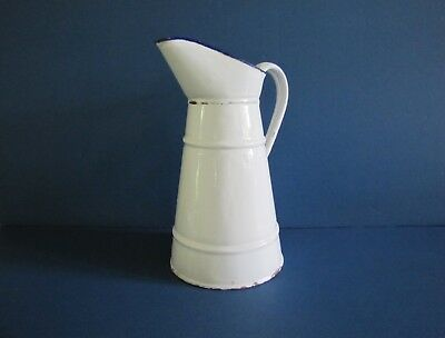 Antique French Enamelware Body Pitcher - White With Dark Blue Trim