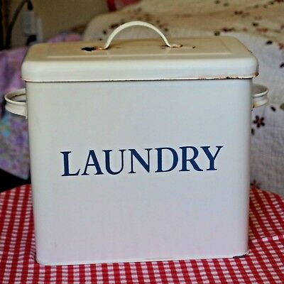 "VTG & PRIMITIVE w/""LAUNDRY"" sign in blue WhiteTin Canister w/Lid 12x11x6"" PREOWN"