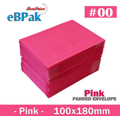 200x Bubble Envelope # 00 - Pink Colour Vivid - 100x180mm Padded Bag Mailer