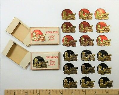 18 Vintage Metal Seals Stickers Merry Christmas Musician Horn, Stanley Mfg. Co.