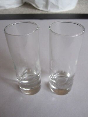 Set of 2 Clear Glass Aperitif Cordial Sherry Port Shot Glasses - Antique Vintage