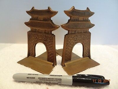 Vintage Pair of Solid Brass Pagoda Folding Book Ends Made in Korea