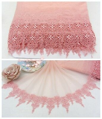 """11""""*1Y Embroidered Floral Tulle Lace Trim~Fringed~Peach Pink~Romantic Heart~RARE"""