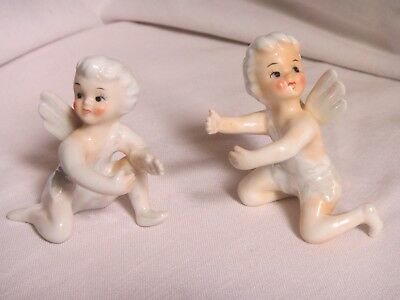 Vintage Pair Of Iridescent Pixie Angel Taper Candle Huggers Climbers