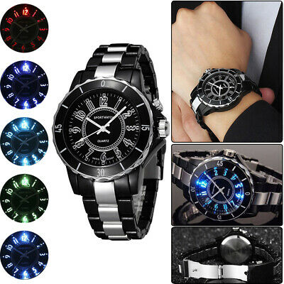 Men's 7LED Backlight Stainless Steel Sport Quartz Wrist Watch Waterproof Stylish