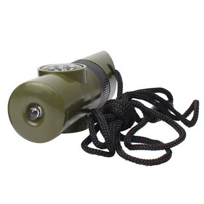 7 in 1 Function Survival Whistle Flashlight Magnifier Camping Multifunction EU