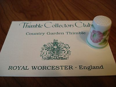 "Royal Worcester Country Garden Thimble Bone China 1"" Thimble Collectors Club"
