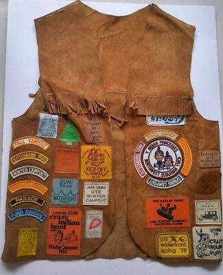Vintage Navajo leather suede vest with fringe, 70s 80s patches arrowhead pin