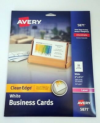 Avery 5871 Clean Edge Laser White Business Cards