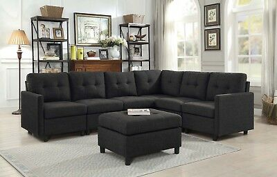 CONTEMPORARY SOFA SET Modern Sectional Sofa Microsuede ...