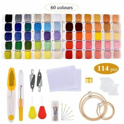 60pcs Colourful Thread + Full Embroidery Punch Needle Knitting Sewing DIY Tool