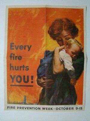 """""""Every Fire Hurts You!"""" National Board Fire Underwriters Poster 1950's"""
