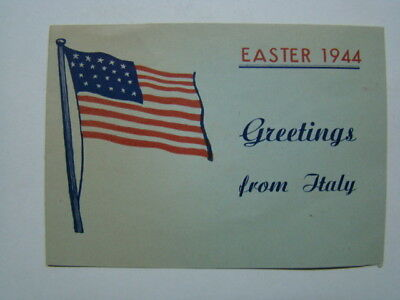 WWII Happy Easter US Army Soldier's Greetings From Italy for Victory 1944