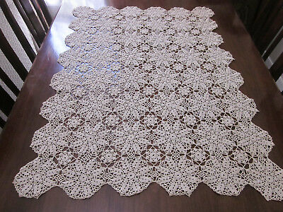 Lovely Large Ecru Hand Worked Rectangular Crochet Lace Table Centre