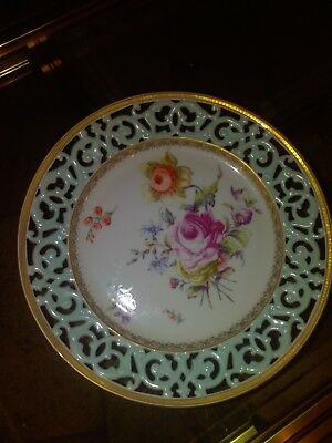 French antique large Limoges porcelain plate dish flowers hand painting