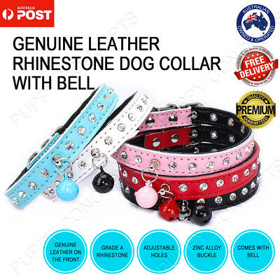 Genuine Leather Pet Dog Cat Puppy Adjustable Buckle Collar Rhinestone Bell Bling