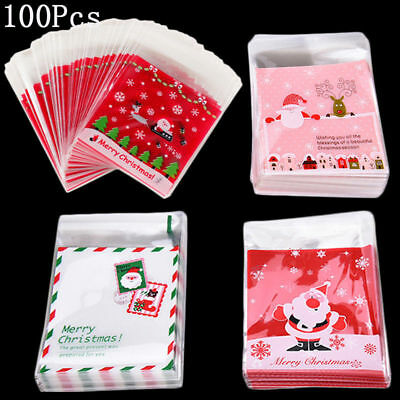 100pcs Self Adhesive Merry Christmas Cookies Candy Package Cellophane Gift BagPB