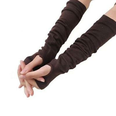 Womens Long Finger Less Gloves NEW Arm Warmers Sleeves 4 Colors FI