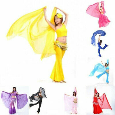 New Womens Belly Dance Dancing Costume Dress Chiffon Shawl Veil Scarves wings