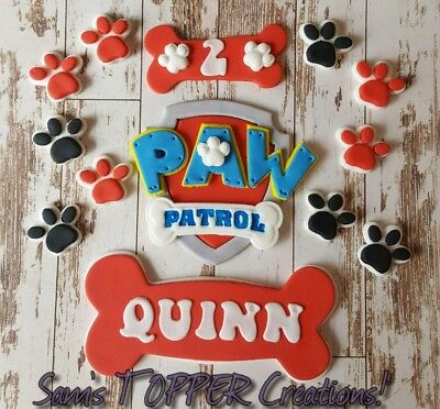 Edible Fondant Paw Patrol 9cm Cake Toppers + bones with name/age +10 paws! RED