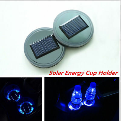 2pc Car Solar Cup Holder Bottom Pad LED Light Cover Trim Atmosphere Lamp Lights