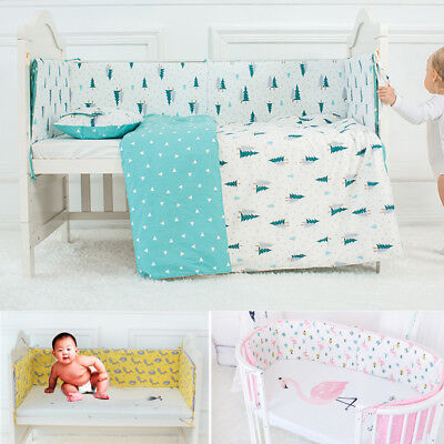 Infant Toddler Baby Crib Bumper Bed Protector Cotton Cushion Pad Nursery Bedding