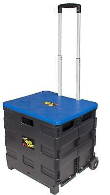 dbest products Quik Cart Two-Wheeled Collapsible Handcart with Blue Lid Rolling