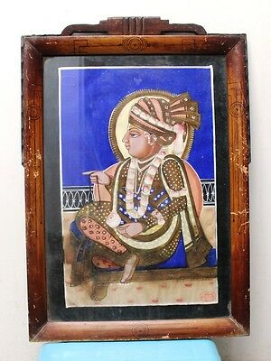 Antique Old Fine Water color Painting of Saint with Turban Collectible Rare Item