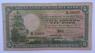 South Africa 5 Pound 1947 Signed M H De Kock in F Condition  #Cb7