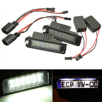 2Pcs Placchette A 18 Led Luci Targa Specifiche Per Vw Golf 4 5 6 Polo 9N Passat