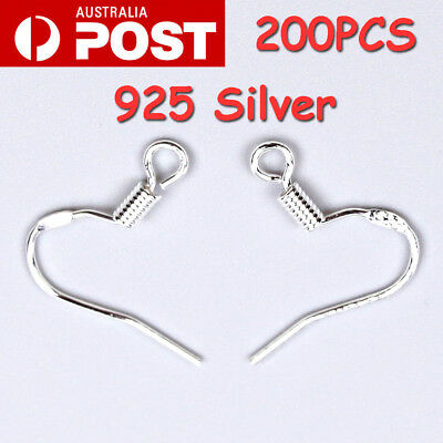 200Pcs 925 Sterling Silver Earring Hooks Coil Ear Wire DIY Clasp Fashion Jewelry