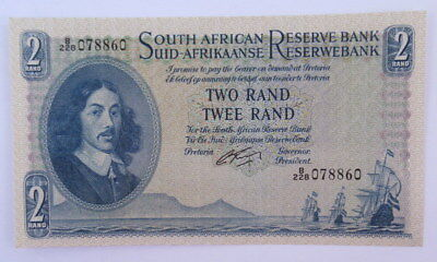 South Africa 1 Rand Signed G Rissik 1962 Uncirculated Condition #Cb10