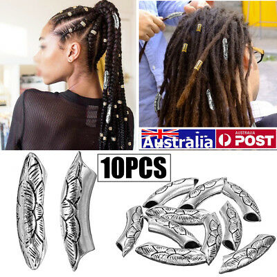 AU 10Pcs 5.5mm Silver Lotus Flower Tibetan Alloy Bend Tube Dreadlock Hair Cuffs