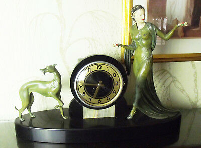 French 1930's Spelter & Marble Clock by Menneville