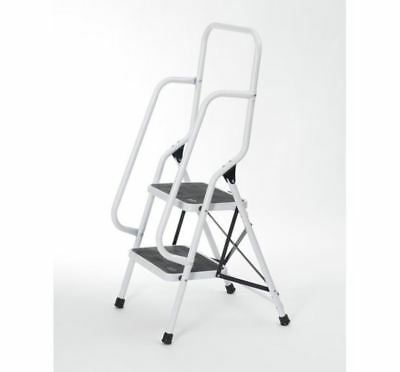 Two Step Folding Safety Ladder w/ Top Side Handrails Non-Slip Stable Carry Grip