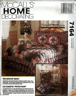 Sewing Pattern Mccalls Home Decorating 7164 Quilt Pillow Valance Uncut M8A