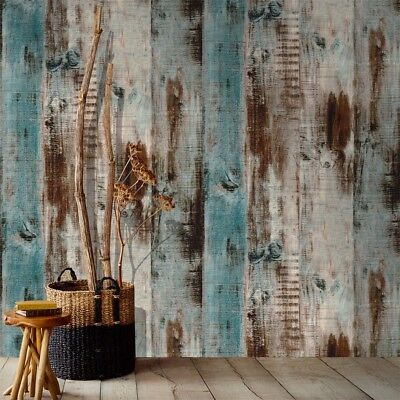 Distreesed Wood Plank Wallpaper Rolls Blue/Brown Trees Kitchen Wall Paper Murals