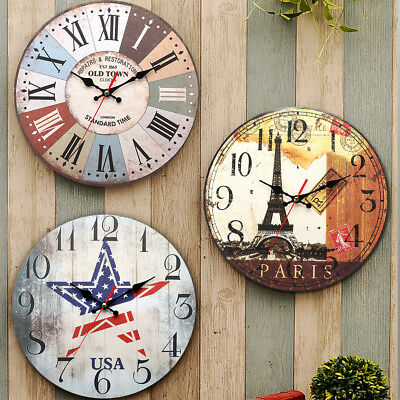 Large Vintage Wooden Wall Clock Shabby Chic Rustic Home decora  Antique Style